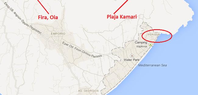 plaja perissa santorini localizare