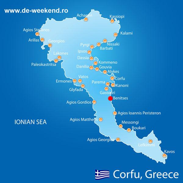 harta Benitses Corfu