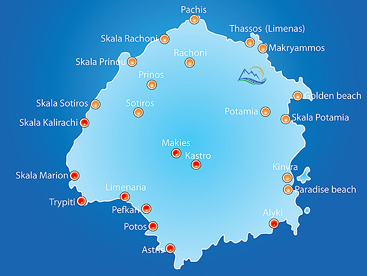 Insula Thassos Harta Sud Grecia De Weekend