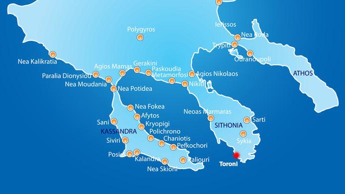 Statiunea Toroni Harta Grecia De Weekend