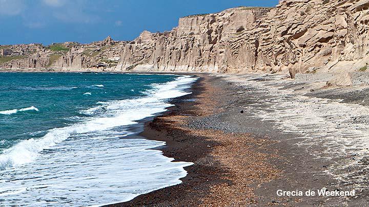 insula santorini plaja Vlychada