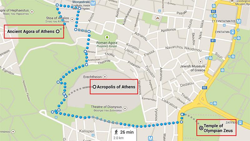 Obiective Turistice Atena Harta Grecia De Weekend
