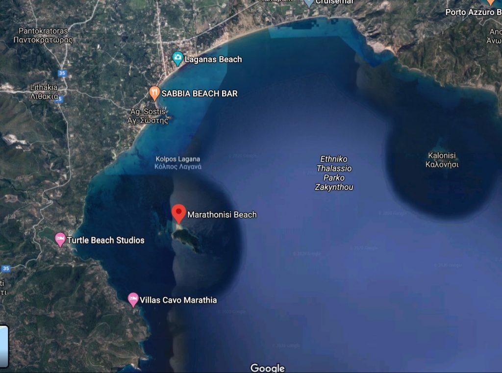 localizare-plaja-Marathonisi-zakynthos