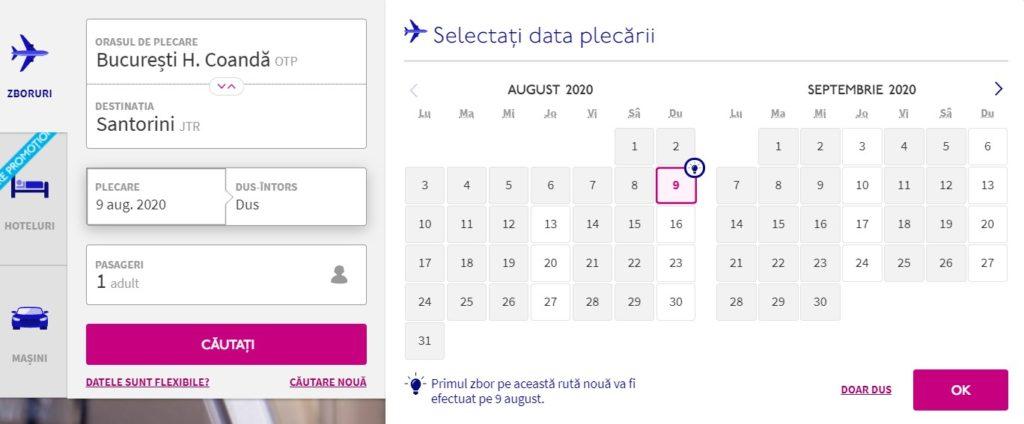 Zbor direct Bucuresti Santorini, ruta noua 2020
